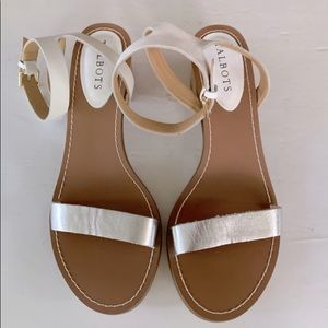 TALBOTS White and Silver Sandals with Block Heel